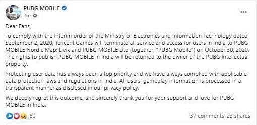 PUBG Mobile Facebook Post Screenshot